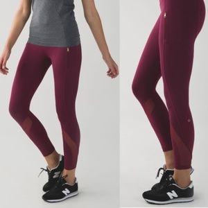 Lululemon Burgundy Inspire Tight Zip Mesh Legging